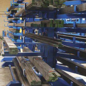 Schwenkarm-Regal Einseitig, 7 Ebenen, 3000 mm